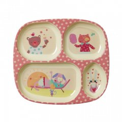 RICE Kids 4 room Melamine plate with girls happy camper...
