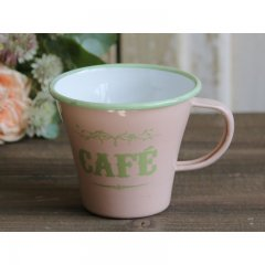 Chic Antique Emaille Tassen mit Druck Cafe, altrosa